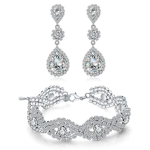 Paxuan Womens Silver-Tone Wedding Bridal Earrings Bracelet Jewelry Sets Rhinestone Crystal Bracelets Earrings Jewelry Sets (Bracelet and Earrings Set)