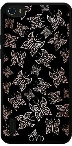 Funda de silicona para Huawei Honor 6 - Mariposas Aumentaron Negro Oro by Nina Baydur