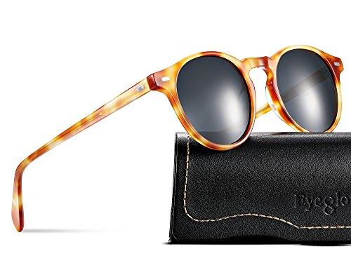 EyeGlow Vintage Round Sunglasses Women Sunglasses Men Polarized Lens 5187 Acetate material (Brown vs grey polarized lens, As - Wholesale Sunglasses Italian