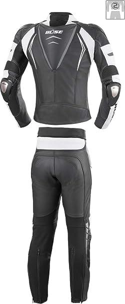 Büse Silverstone Pro 2 Teiler Damen Motorrad Lederkombi Schwarz Weiß 34 Bekleidung