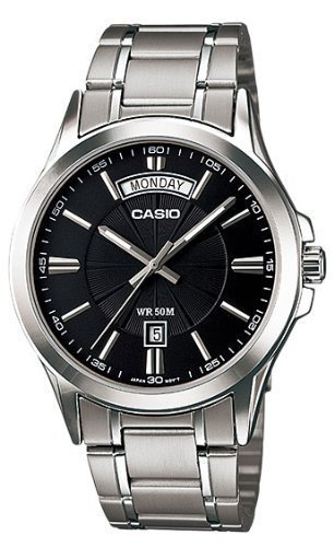 Casio #MTP1381D-1AV Men's Classic Stainless Steel 50M Day Date Black Dial Watch