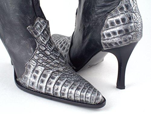 Tacco Alto Con Tacco Alto Da Donna In Caimano Di Lusso (argento)