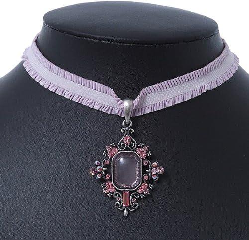 /Longueur 28/cm//5/cm Extension En filigrane style victorien avec pendentif en cristal rose lavande p/âle stretch Ruban Collier ras du cou en argent de combustion/