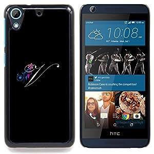 SKCASE Center / Funda Carcasa protectora - Negro Iniciales de la letra de la caligrafía del texto - HTC Desire 626