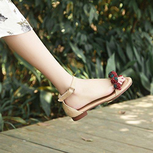 Jqdyl High Heels Weibliche Sandalen Sommer Grob High Heels Mit Mode Casual  36|Flat almon