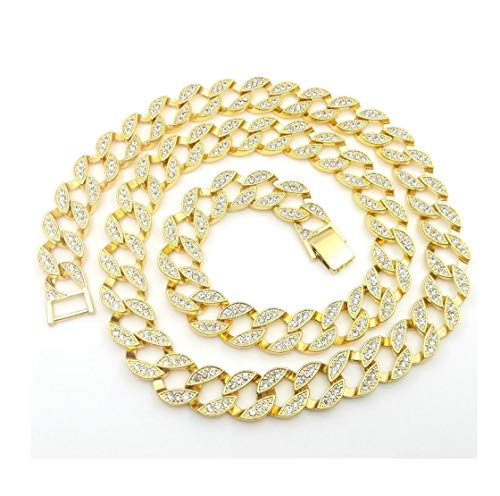 Bling Bling NY Fully Iced Out Miami Cuban Link CZ Choker Necklace/Bracelet Gold Finish Lab Created Diamonds 15MM (8.5-30 inches) (Chain 16'') (16' Fashion Cubic Zirconia Necklace)