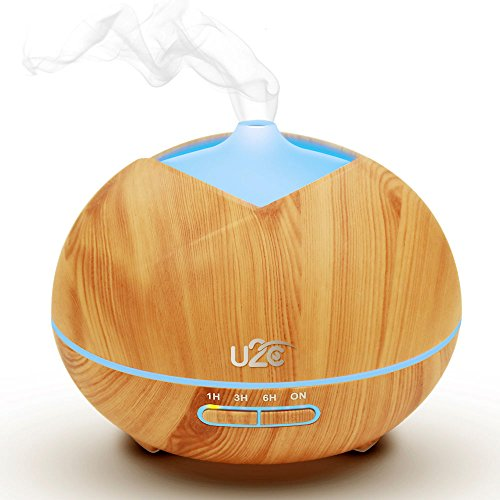 U2C Essential Oil Diffuser, 【450ml Aroma Diffuser Wood Grain】 Ultrasonic Aroma Diffuser Cool Mist Humidifier Low Water Auto Shut-Off, 7 Color LED Office Home Bedroom Study