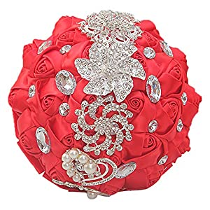 cn-Knight Wedding Bouquet Bridal Bouquet Handmade Silk Satin Rose Artificial Flower with Sparkling Rhinestone Brooch Crystals Pearl Soft Ribbon for Bride Bridesmaid Church(10''W×11''H,Red) 61