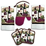 Decor Kitchen Wine Bottle Kitchen Decor 5 Piece Linen Set
