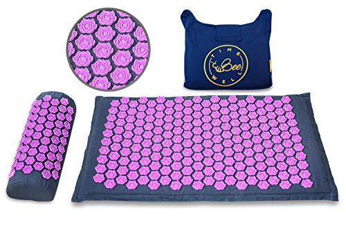 TimeBeeWell Eco-Acupressure Mat and Pillow Set for Back and Neck Pain Relief, Relieve Stress and Sciatic Pain with Pressure-Point Therapy and Cervical Traction, Free Carry Travel Bag