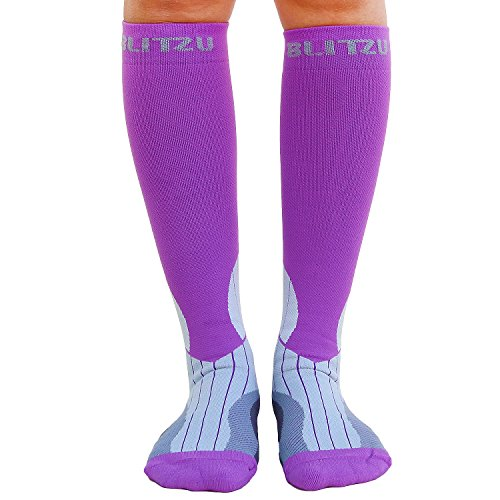 Blitzu Compression Socks 15-20mmHg for Men & Women BEST Recovery Performance Stockings for Running, Medical, Athletic, Edema, Diabetic, Varicose Veins, Travel, Pregnancy Relief Shin Splint L/XL Purple by BLITZU (Image #8)