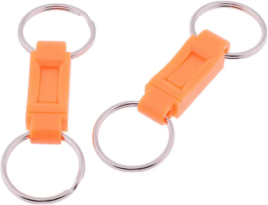 2x Detachable Keychain Pull Apart Quick Release Removable Dual Key Rings