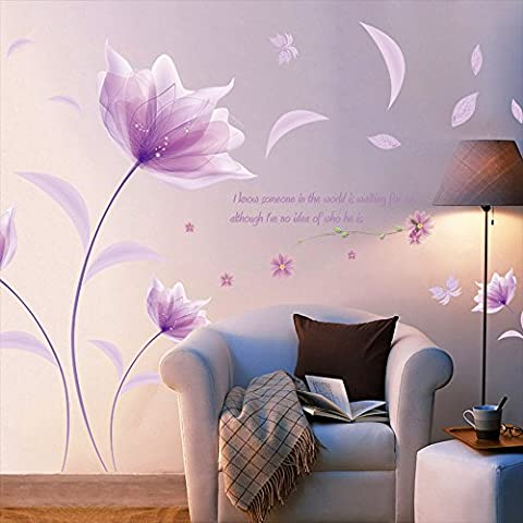 Kaimao Purple Flower in The Wind Wall Stickers Art Decal Murals Removable Wallpapers for Home (Dark Purple Wallpaper)