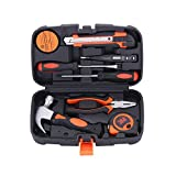 COLMAX 9PCS Mixed General Hand Tool Kit, Small/Tiny/Mini Home improvement/Household Tools, Portable Repairing Tool Set, with Plastic Tool box Storage Case