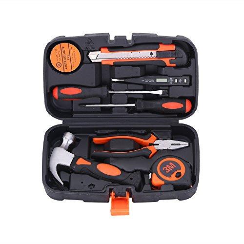 COLMAX 9PCS Mixed General Hand Tool Kit, Small/Tiny/Mini Home improvement/Household Tools, Portable Repairing Tool Set, with Plastic Tool box Storage Case