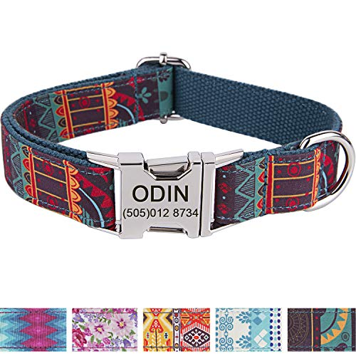 Personalized Dog Collar/Premium Custom Dog Collar with Name Plated/Stainless Steel Quick Release Buckle/Fashion Patterns Dog Collars/Laser Engraved/Cyan Mayan Pattern in XS,S,M,L,XL
