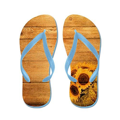 Cafepress Barnwood Solros Västland - Flip Flops, Roliga Rem Sandaler, Strand Sandaler Caribbean Blue