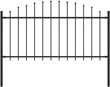 vidaXL Valla de Jardín con Puntas Acero Cercado Metálico Paneles Valla Barrera Perimetral Segura Ocultación Decorativa Estable Negro (1.25-1.5) x1.7m: Amazon.es: Bricolaje y herramientas