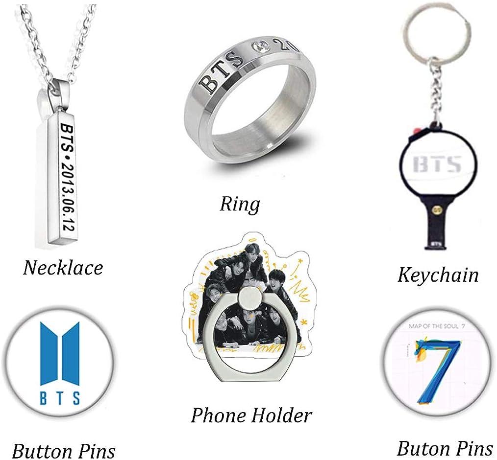 Big BTS Geschenkset f/ür die Army 1 Schl/üsselbund 1 Halskette 1 BTS Canvas Einkaufstasche 1 Ring 40 Aufkleber 1 Telefonringhalter 40 Postkarten 2 Knopfnadeln