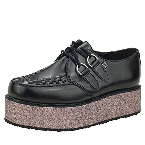 A8638 Viva T Glitter Leather Shoes Creeper Mondo Platform K Black Wrap U Pink TUK ggUFqwEP