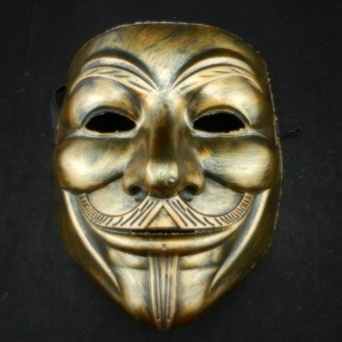 [MASK PARTY - Halloween Killer Clown Horror Party Deluxe Costume Prop Masquerade Prom Carnival Mask (V Bronze &] (Jigsaw Costume Face Paint)