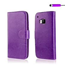 32nd® Book wallet PU leather case cover for HTC One M9 + screen protector, cleaning cloth and touch stylus - Purple