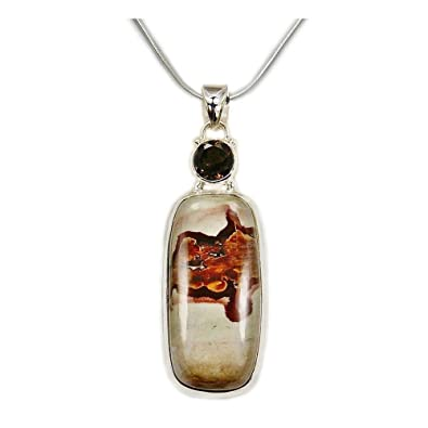Amazon coffee bean jasper smoky quartz sterling silver coffee bean jasper smoky quartz sterling silver pendant necklace aloadofball Choice Image
