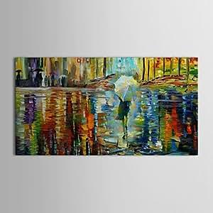 Nice - de la mano de pintura al óleo del paisaje de lluvia pintada blanqueador de la noche con inferior de marco