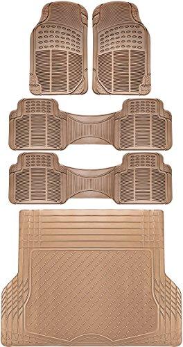 (OxGord 5pc Rear Set Ridged Rubber Floor Mats, Universal Fit Mat for SUVs Vans- Rear Driver Passenger Side, Rear Runners and Trunk Liner Beige)