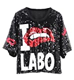 Coolred-Women Sequins Casual Red-Lip Hip Hop Modern Series Fashion T-Shirt Top Black OS