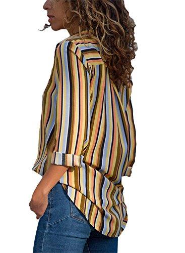 Aranmei XXL Manche Top Jaune Femme Chemisier Mode Multicolore V Blouse Longue S Col UrUpa1xwq