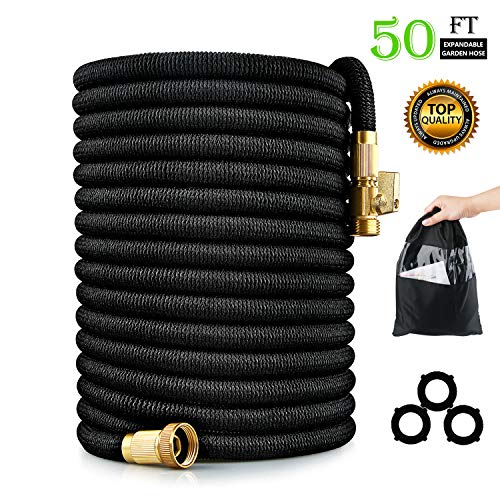 RUIDIGDN Expandable Garden Hose 50 ft – 3/4″ Solid Brass Fittings,Durable Nylon Fabric Flexible Rubber Expanding Water Hose for Courtyard & Pressure Washer Car Wash
