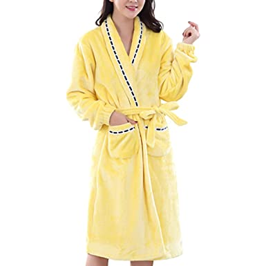 661863357a4d Women Dressing Gown Autumn Winter Solid Color Bathrobe Home Sleepwear - Belt  Fastening and Two Pockets