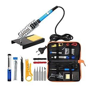 Kit de Herramientas de Soldadura eléctrica de 60W para Temperatura Ajustable Incluye 5 Piezas Consejos de Soldadura Soporte de Soldadura para Pinzas Bolsa ...