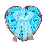 9Pcs Heart Scented Bath Body Petal Rose Flower Soap Travel Carry Soap Paper Deep Cleaning Oil Control for All Skin Types Finedo (Blue)
