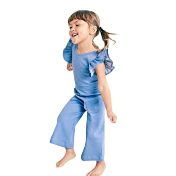 325cc8e674 Amazon.com  Franterd Little Girls Solid Blue Fly Sleeve Rompers