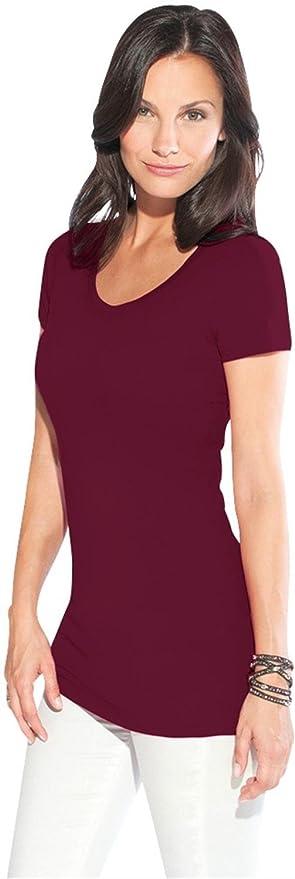 771100db8274 normani Figurbetontes Longshirt mit V-Ausschnitt - von XS bis 3XL   Amazon.de  Sport   Freizeit