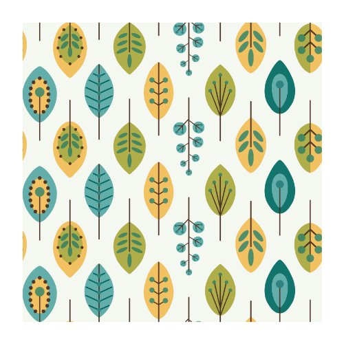 Contemporary Retro Wallpaper (York Wallcoverings KB8528 Bistro 750 Retro Leaves Prepasted Wallpaper, White / Teal Blue / Mustard Yellow)