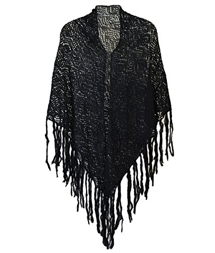 [Modadorn Soft Crochet Solid Color W/fringe Shawl Scarf (Black)] (Womens Halloween Ideas)