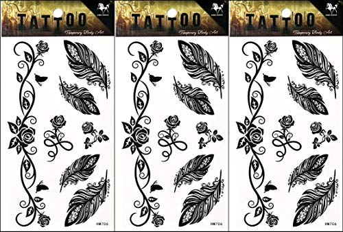(PP TATTOO 3 Sheets Feather Flowers Rose Vine Group Tattoos Stickers Pattern Style Henna Make up Neck Shoulder Upper arm Thigh Body Art Tattoo for Women Men Sexy Fake Waterproof )