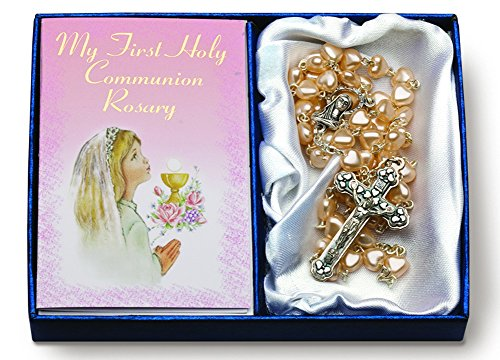 Girl 6mm Heart Shaped Rosary With Mini Greeting Card