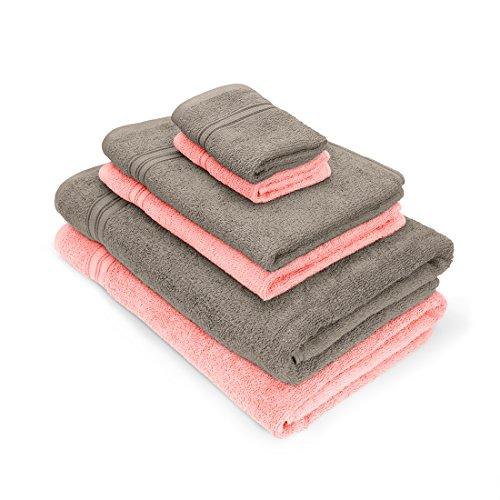 Essential Plus Set of 6 Bath Towel (2B,2H,2F)(Light Pink/Ash Violet)