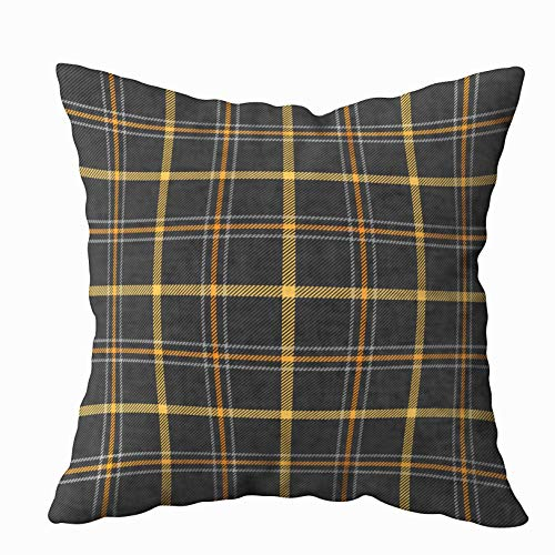 Capsceoll Throw Pillow Covers, Halloween Tartan Plaid Scottish Pattern in Orange Black Yellow and Gray 20x20 Pillow Covers,Home Decoration Pillow Cases Zippered Covers Cushion for Sofa Couch -