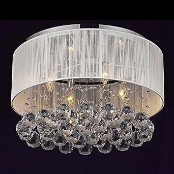Modern Silver Crystal Pendant Light in Cylinder Shade, Drum Style Home Ceiling Light Fixture Flush Mount, Pendant Light Chandeliers Lighting Kitchen Lighting