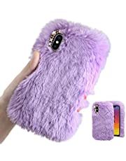 MOIKY for Samsung Galaxy A21 Case [with HD Screen Protector],Cute Warm Winter Fluffy Furry Plush Soft Flexible Silicon TPU Case with Bowknot Diamond for Samsung Galaxy A21,Purple