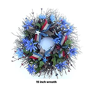 Americana wreath for front door, 4th of july patriotic decorations, Summer Wreath, Red White blue, small 15 inch wreath 12