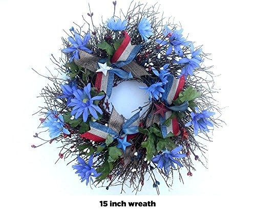 Americana wreath for front door, 4th of july patriotic decorations, Summer Wreath, Red White blue, small 15 inch wreath -