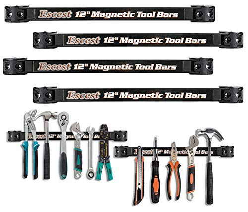 Escest Magnetic Tool Holder Organizer Racks, 12 Inches - Heavy-Duty - Pack of 4 - Mounting Brackets & Screws Included, The Most Efficient Tool Storage Method, its Super Strong ()