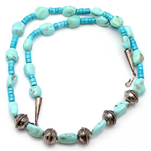 Turquoise Nugget & Silver Bead Necklace ()