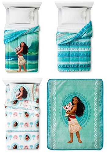 Disney Pixar Moana Twin 5 Piece Bedding Set w/ Reversible Comforter, 3 Pc Sheet Set, Plush Throw Blanket